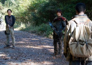Glenn and Daryl find Bob wandering alone, the sole survivor of two groups before he entered the prison community in The Walking Dead