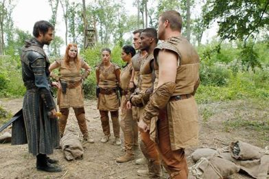 Astonishing twists caused Sir Ansgar and the last six paladins (left to right: Bonnie, Lina, Leticia, Andrew, Shondo, and Patrick) to flee the safety of castle Sanctum for the wild.  ABC's The Quest